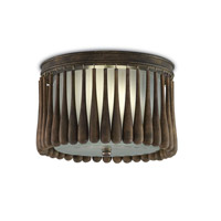 Currey & Company 9999-0014 Gateau 2 Light 13 inch Rustic Gold / Chestnut Flush Mount Ceiling Light