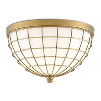 Derrida 2 Light 15 inch Antique Brass/White Opaque Glass Flush Mount Ceiling Light