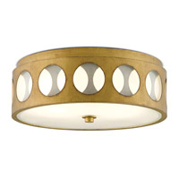 Go-Go 2 Light 16 inch Brass/White Opaque Glass Flush Mount Ceiling Light
