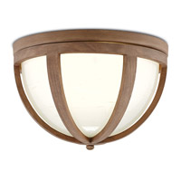 Summersville 2 Light 16 inch Natural Chestnut Wood/Hand Blown Glass Flush Mount Ceiling Light