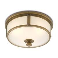 Currey & Company 9999-0021 Babington LED 16 inch Antique Brass and White Flush Mount Ceiling Light