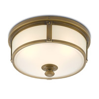 Babington LED 16 inch Antique Brass and White Flush Mount Ceiling Light