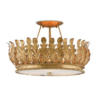 Biddulph 3 Light 19 inch Gold Leaf and White Semi-Flush Mount Ceiling Light
