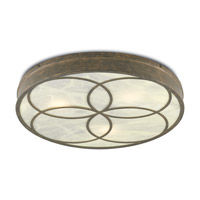 Currey & Company 9999-0025 Bramshill LED 32 inch Rustic Gold and Alabaster Flush Mount Ceiling Light