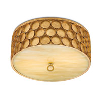 Buongiorno LED 16 inch Antique Gold Leaf and Honey Beige Flush Mount Ceiling Light