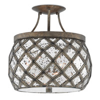 Currey & Company 9999-0029 Buckminster 3 Light 14 inch Pyrite Bronze and Raj Mirror Semi-Flush Mount Ceiling Light