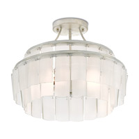 Vintner 3 Light 16 inch Contemporary Silver Leaf and Opaque White Semi-Flush Mount Ceiling Light