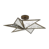 Stargazer 3 Light 30 inch Pyrite Bronze and Raj Mirror Semi-Flush Mount Ceiling Light