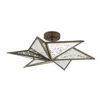 Currey & Company 9999-0031 Stargazer 3 Light 30 inch Pyrite Bronze and Raj Mirror Semi-Flush Mount Ceiling Light