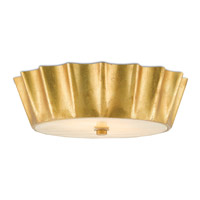 Bronwen LED 18 inch Dark Contemporary Gold Leaf and Honey Beige Flush Mount Ceiling Light