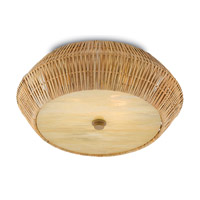 Currey & Company 9999-0033 Antibes LED 19 inch Natural and Honey Beige Flush Mount Ceiling Light