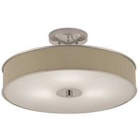 Currey & Company 9999-0038 Louis 3 Light 21 inch Polished Nickel and Painted Turtledove Flush Mount Ceiling Light