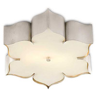 Currey & Company 9999-0042 Grand Lotus 2 Light 19 inch Contemporary Silver Leaf Flush Mount Ceiling Light