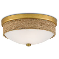 Currey & Company 9999-0044 Hopkins 2 Light 14 inch Natural and Dark Contemporary Gold Leaf Flush Mount Ceiling Light