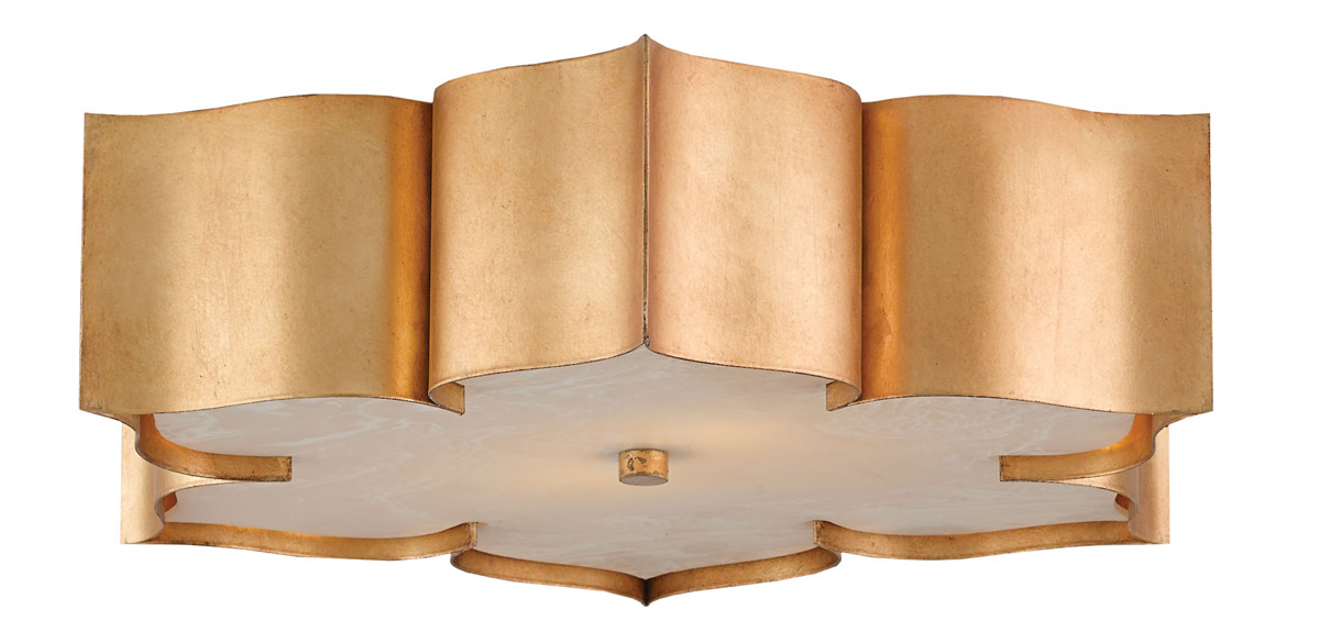 Currey Company 9999 0010 Grand Lotus Flush Mounts Antique Gold