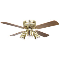 Hugger 42 inch Polished Brass with Light/Dark Oak Blades Ceiling Fan, Bullet Light Kit
