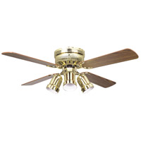 Hugger 42 inch Polished Brass with Light/Dark Oak Blades Ceiling Fan, Schoolhouse