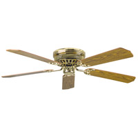 Hugger 52 inch Polished Brass with Light/Dark Oak Blades Ceiling Fan