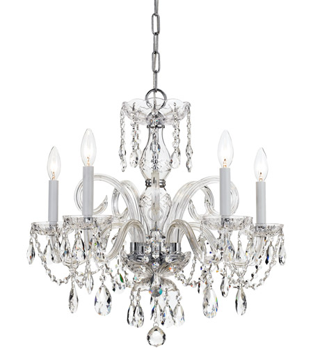 Crystorama 1005-CH-CL-MWP Traditional Crystal 5 Light 22 inch Polished Chrome Chandelier Ceiling Light in Hand Cut, Polished Chrome (CH) photo
