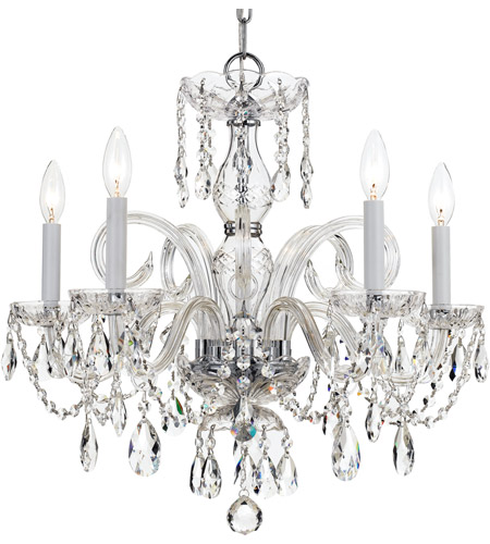 Crystorama Traditional Crystal 5 Light Chandelier in Polished Chrome 1005-CH-CL-SAQ photo