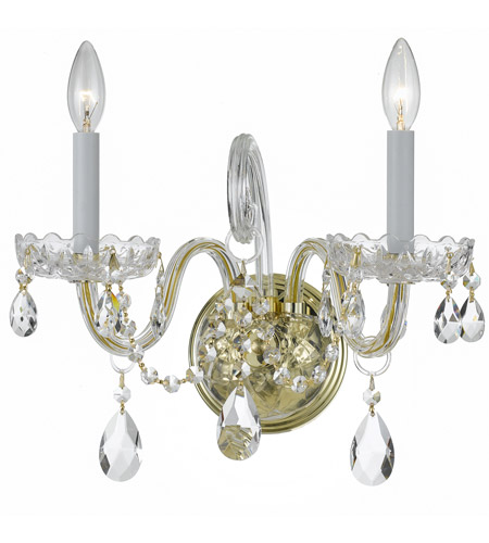 Crystorama 1032-PB-CL-MWP Traditional Crystal 2 Light 15 inch Polished Brass Wall Sconce Wall Light in Polished Brass (PB), Clear Hand Cut photo