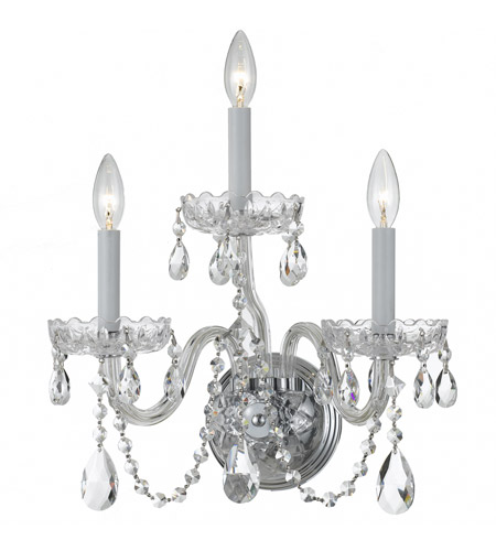 Crystorama 1033-CH-CL-MWP Traditional Crystal 3 Light 15 inch Polished Chrome Wall Sconce Wall Light in Clear Hand Cut photo