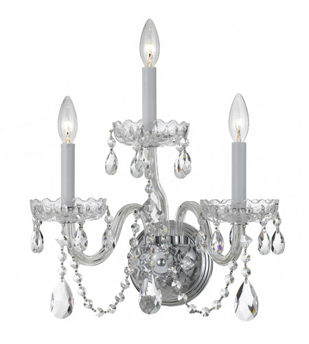 Crystorama 1033-CH-CL-SAQ Traditional Crystal 3 Light 15 inch Polished Chrome Wall Sconce Wall Light in Swarovski Spectra (SAQ), Polished Chrome (CH) photo