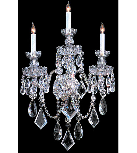 Crystorama 1043-CH-CL-MWP Traditional Crystal 3 Light 17 inch Polished Chrome Wall Sconce Wall Light in Polished Chrome (CH), 17-in Width photo