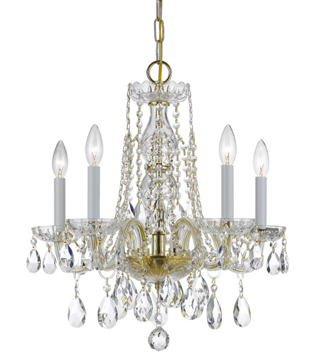 Crystorama 1061-PB-CL-SAQ Traditional Crystal 5 Light 18 inch Polished Brass Mini Chandelier Ceiling Light in Swarovski Spectra (SAQ), Polished Brass (PB) photo