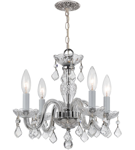 Crystorama 1064-CH-CL-SAQ Traditional Crystal 4 Light 15 inch Polished Chrome Mini Chandelier Ceiling Light in Swarovski Spectra (SAQ), Polished Chrome (CH) photo