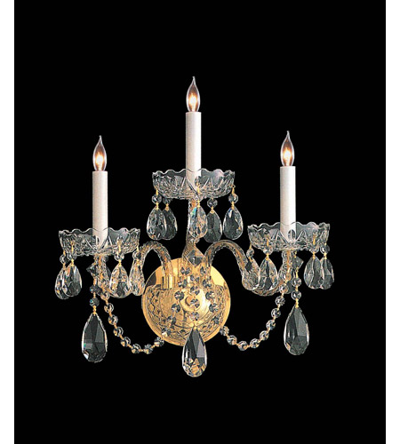 Crystorama 1103-PB-CL-MWP Traditional Crystal 3 Light 15 inch Polished Brass Wall Sconce Wall Light in Hand Cut photo