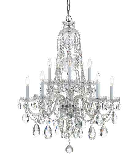 Crystorama 1110-CH-CL-MWP Traditional Crystal 10 Light 32 inch Polished Chrome Chandelier Ceiling Light in Polished Chrome (CH), Clear Hand Cut photo