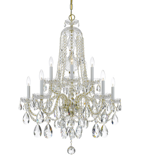 Crystorama 1110-PB-CL-MWP Traditional Crystal 10 Light 32 inch Polished Brass Chandelier Ceiling Light in Hand Cut, Polished Brass (PB) photo