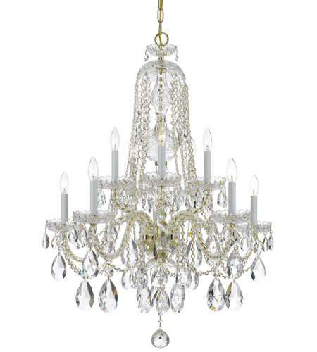 Crystorama 1110-PB-CL-SAQ Traditional Crystal 10 Light 32 inch Polished Brass Chandelier Ceiling Light in Polished Brass (PB), Swarovski Spectra (SAQ) photo