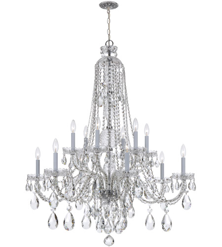 Crystorama 1112-CH-CL-S Traditional Crystal 12 Light 36 inch Polished Chrome Chandelier Ceiling Light in Polished Chrome (CH), Clear Swarovski Strass photo