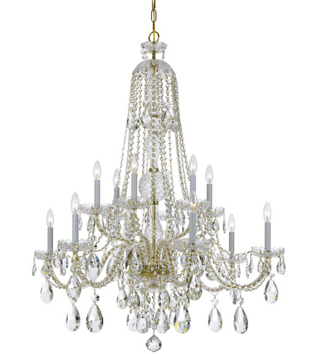 Crystorama Traditional Crystal 12 Light Chandelier in Polished Brass 1112-PB-CL-S photo