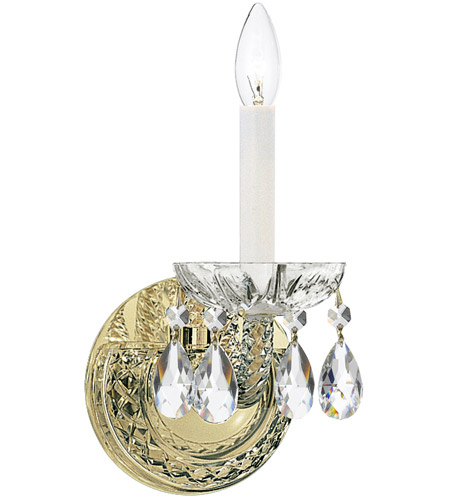 Crystorama 1121-PB-CL-SAQ Traditional Crystal 1 Light 5 inch Polished Brass Wall Sconce Wall Light in Swarovski Spectra (SAQ), Polished Brass (PB) photo
