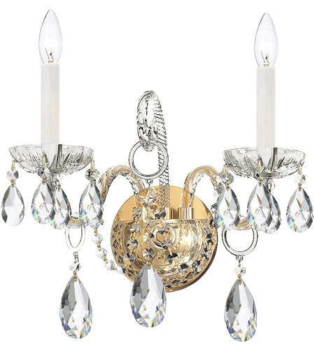 Crystorama Traditional Crystal 2 Light Wall Sconce in Polished Brass 1122-PB-CL-SAQ photo