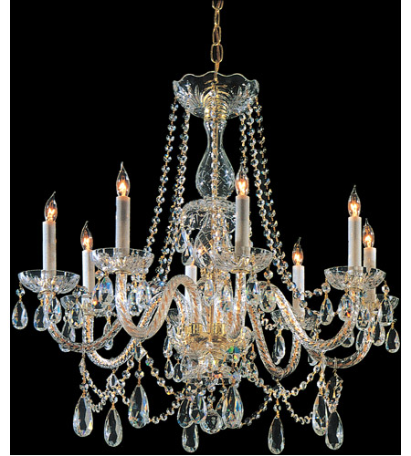Crystorama Traditional Crystal 8 Light Chandelier in Polished Brass, Swarovski Spectra 1128-PB-CL-SAQ photo
