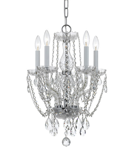 Crystorama 1129-CH-CL-S Traditional Crystal 5 Light 14 inch Polished Chrome Mini Chandelier Ceiling Light in Polished Chrome (CH), Clear Swarovski Strass photo