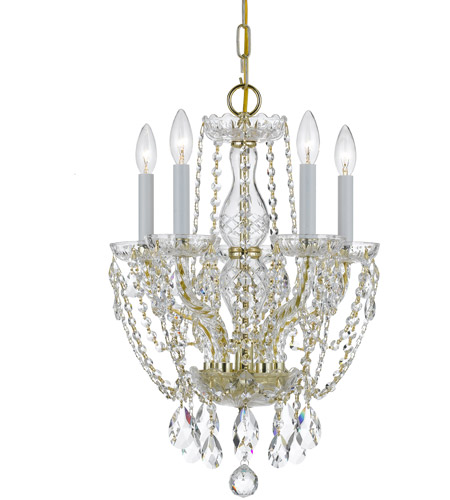 Crystorama Traditional Crystal 5 Light Mini Chandelier in Polished Brass 1129-PB-CL-S photo