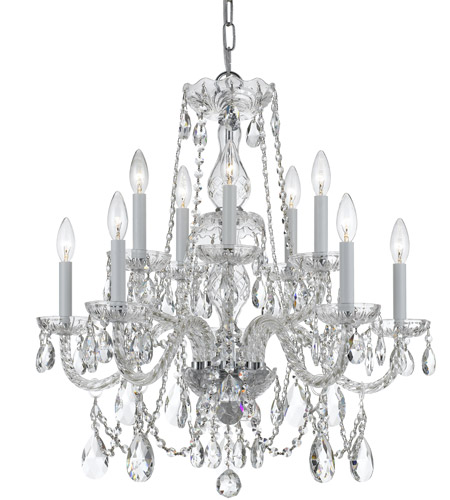 Polished Chrome Glass and Crystal Chandeliers