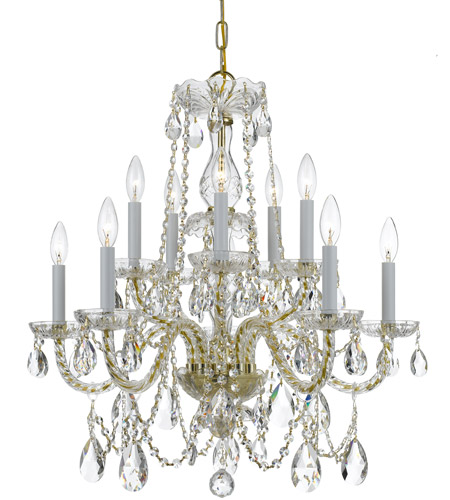 Crystorama 1130-PB-CL-MWP Traditional Crystal 10 Light 26 inch Polished Brass Chandelier Ceiling Light in Hand Cut, Polished Brass (PB) photo