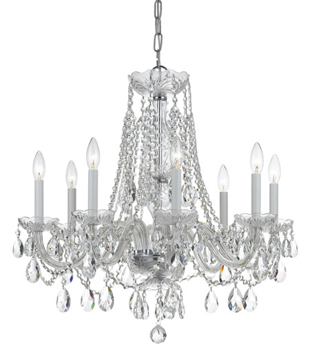 Crystorama 1138-CH-CL-MWP Traditional Crystal 8 Light 26 inch Polished Chrome Chandelier Ceiling Light in Hand Cut, Polished Chrome (CH) photo