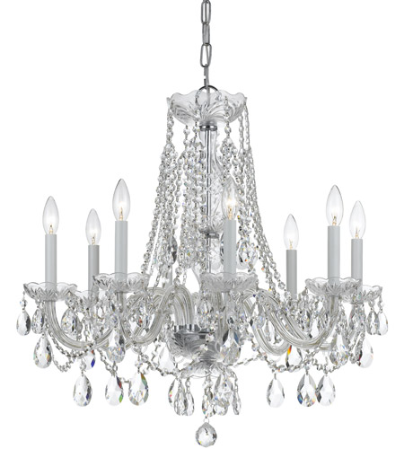 Crystorama 1138-CH-CL-SAQ Traditional Crystal 8 Light 26 inch Polished Chrome Chandelier Ceiling Light in Polished Chrome (CH), Swarovski Spectra (SAQ) photo