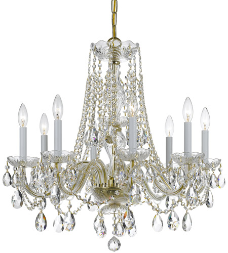 Crystorama 1138-PB-CL-MWP Traditional Crystal 8 Light 26 inch Polished Brass Chandelier Ceiling Light in Polished Brass (PB), Clear Hand Cut photo