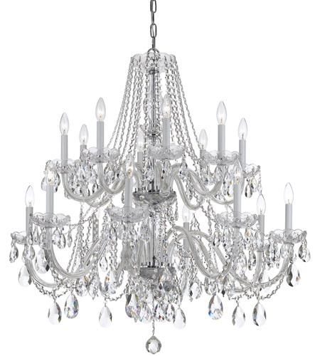 Crystorama Traditional Crystal 16 Light Chandelier in Polished Chrome, Swarovski Spectra 1139-CH-CL-SAQ photo