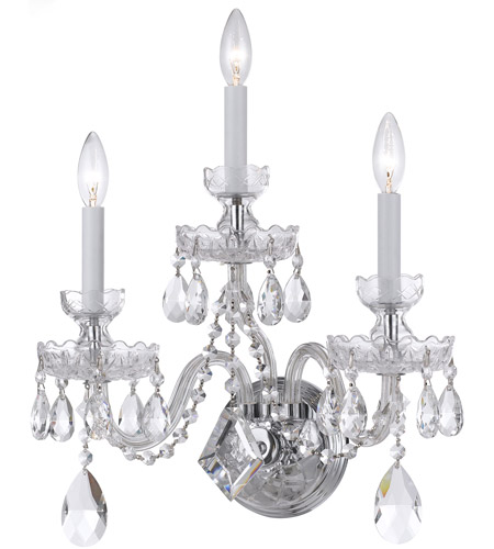 Crystorama 1143-CH-CL-S Traditional Crystal 3 Light 15 inch Polished Chrome Wall Sconce Wall Light in Swarovski Elements (S) photo