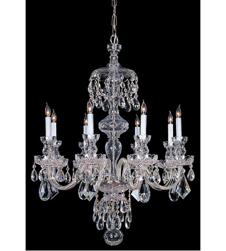 Crystorama 1148-CH-CL-MWP Traditional Crystal 8 Light 28 inch Polished Chrome Chandelier Ceiling Light in Clear Hand Cut photo