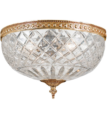 Crystorama 117-12-OB Signature 3 Light 12 inch Olde Brass Flush Mount Ceiling Light in Olde Brass (OB), 12-in Width photo
